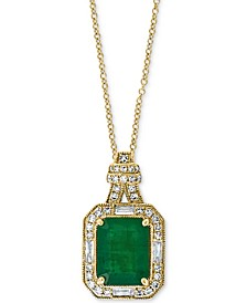 "EFFY® Emerald (2-1/5 ct. t.w.) & Diamond (1/4 ct. t.w.) 18"" Pendant Necklace in 14k Gold"