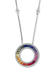 "EFFY® Multi-Sapphire (1-5/8 ct. t.w.) & Diamond (3/8 ct. t.w.) 18"" Pendant Necklace in 14k White Gold"