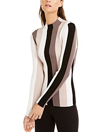 INC Striped Ribbed Mock-Neck Sweater, Created For Macy's
