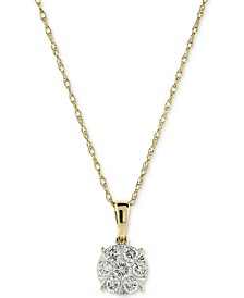 "Diamond Cluster 18"" Pendant Necklace (1/2 ct. t.w.) in 14k Gold & 14k White Gold"