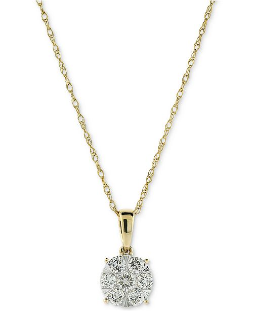 "Macy's Diamond Cluster 18"" Pendant Necklace (1/2 ct. t.w.) in 14k Gold & 14k White Gold"