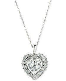 Diamond Cluster Baguette Halo Heart Adjustable Pendant Necklace (1 ct. t.w.) in 14k White Gold