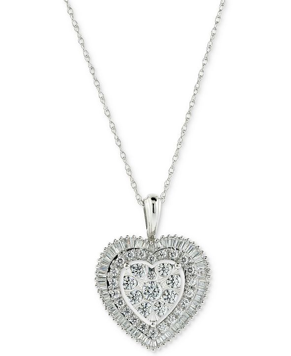 Macy's Diamond Cluster Baguette Halo Heart Adjustable Pendant Necklace (1 ct. t.w.) in 14k White Gold