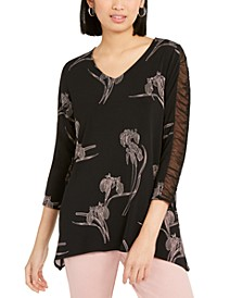 Floral-Print Ruched-Sleeve Top, Created For Macy's