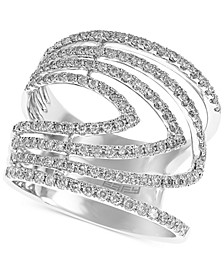 EFFY® Diamond Chevron Multi-Row Statement Ring (7/8 ct. t.w.) in 14k White Gold