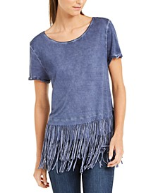 INC Fringe-Trim T-Shirt, Created for Macy's