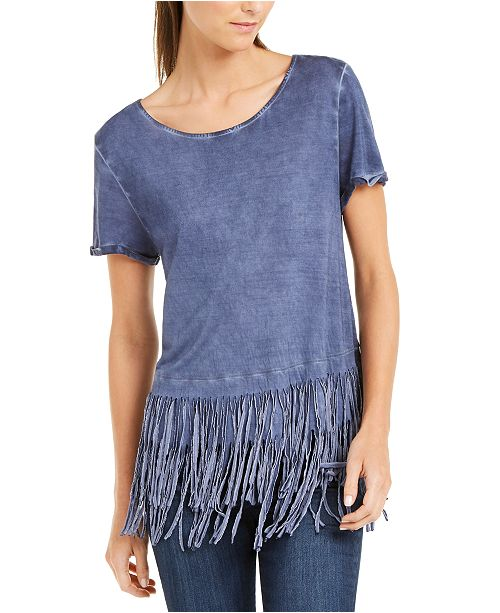 INC International Concepts INC Fringe-Trim T-Shirt, Created for Macy's