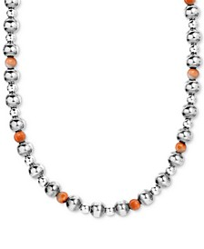 """Spiny Oyster Multi-Bead Statement Necklace in Sterling Silver, 15"""" + 2"""" extender"""