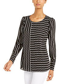 Alfani Printed Puff-Sleeve Blouse, Created for Macy's
