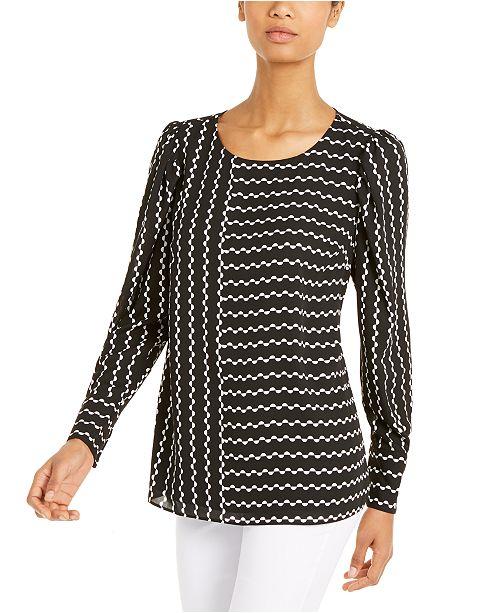 Alfani Printed Puff-Sleeve Blouse, Created For Macy's