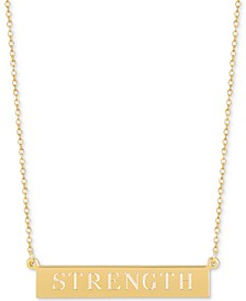 Strength Engraved Bar Adjustable Pendant Necklace in 14k Gold-Plated Sterling Silver