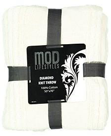 "Classic Throw Collection Cotton Diamond Knit, 50"" X 70"""