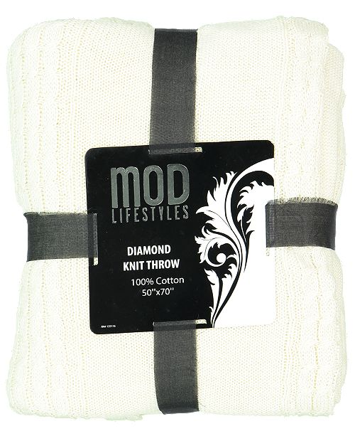 "Mod Lifestyles Classic Throw Collection Cotton Diamond Knit, 50"" X 70"""
