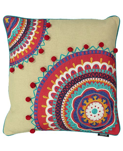 """Mod Lifestyles Tribal Chic Collection Bohemian Embroidery Pillow, 20"""" X 20"""""""