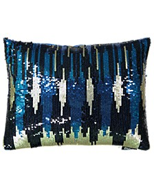 """Holiday Blue Collection Allover Sequin Skyline Embroidery Lumbar Pillow, 13"""" X 18"""""""