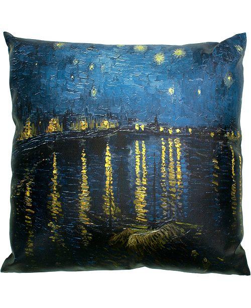 "Red Lantern Van Gogh Over The Rhone Pillow, 14.25"" x 14.25"""