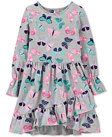Little Girls Butterfly-Print Ruffled Dress