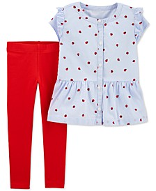 Toddler Girls 2-Pc. Ladybug-Print Shirt & Jersey Leggings Set