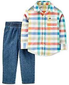Toddler Boys 2-Pc. Cotton Plaid Shirt & Denim Pants Set