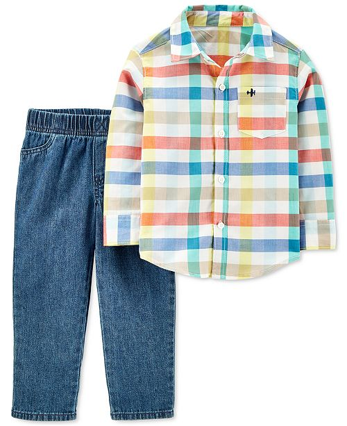 Carter's Toddler Boys 2-Pc. Cotton Plaid Shirt & Denim Pants Set