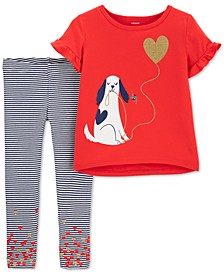 Toddler Girls 2-Pc. Glitter Dog T-Shirt & Striped Leggings Set