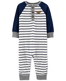 Baby Boys Cotton Striped Bear Coverall