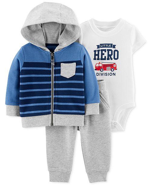 Carter's Baby Boys 3-Pc. Cotton Hoodie, Hero Bodysuit & Jogger Pants Set