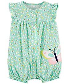 Baby Girls Butterfly-Print Cotton Romper