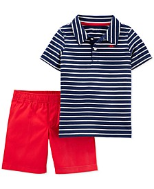 Toddler Boys 2-Pc. Cotton Striped Polo Shirt & Canvas Shorts Set