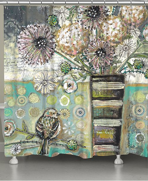 Laural Home Bird and Bouquet Shower Curtain