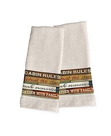 Cabin Rules 2-Pc. Hand Towel Set