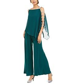 Embellished Chiffon-Overlay Jumpsuit