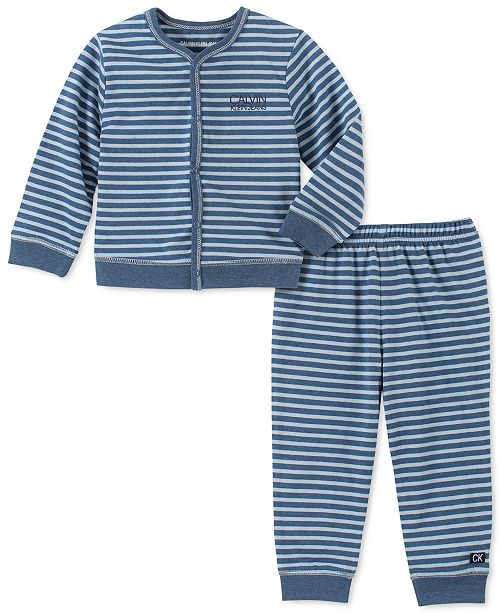 Calvin Klein Baby Boys 2-Pc. Striped Cardigan & Pants Set