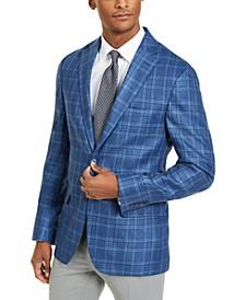 Men's Classic-Fit Ultraflex Stretch Blue Plaid Sport Coat