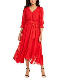 Petite Button-Front Chiffon Dress