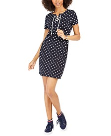 Polka-Dot Lace-Up T-Shirt Dress