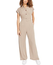 Petite Button-Front Linen-Blend Wide-Leg Jumpsuit