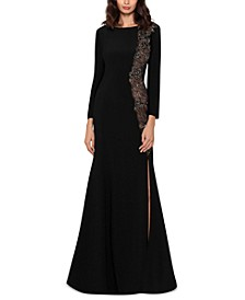 Embellished Illusion Slit Gown