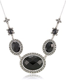 "Marcasite and Faceted Onyx Oval Frontal 16""+2"" Extender Necklace in Sterling Silver"