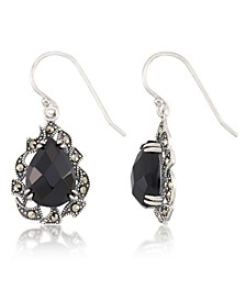 Marcasite and Faceted Onyx Teardrop Wire Earrings in Sterling Silver