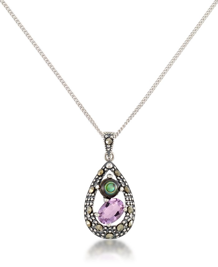 """Macy's - Marcasite, Amethyst (7/8 ct. t.w.) and Abalone (1-1/2 ct. t.w.) Teardrop Pendant+18"""" Chain in Sterling Silver"""
