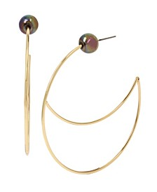 """Pearl Gold Cut-Out Wire Large Hoop Earrings 2-1/4"""""""