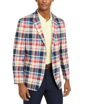 1960s Mens Suits | 70s Mens Disco Suits Tommy Hilfiger Mens Modern-Fit THFlex Stretch Madras Plaid Sport Coat $39.99 AT vintagedancer.com