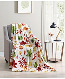 Fall Leaves Plush Throw Blanket