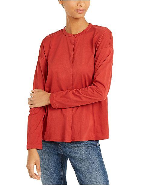 Eileen Fisher Organic Cotton Mandarin-Collar Top