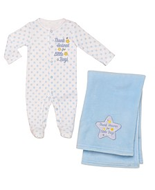 2 Piece Thank Heaven Layette and Blanket Set- Boys