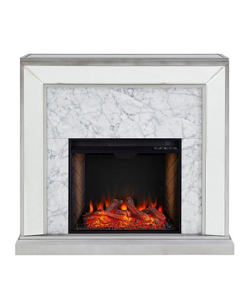 Southern Enterprises Audrey Mirrored Alexa-Enabled Fireplace with Polyresin
