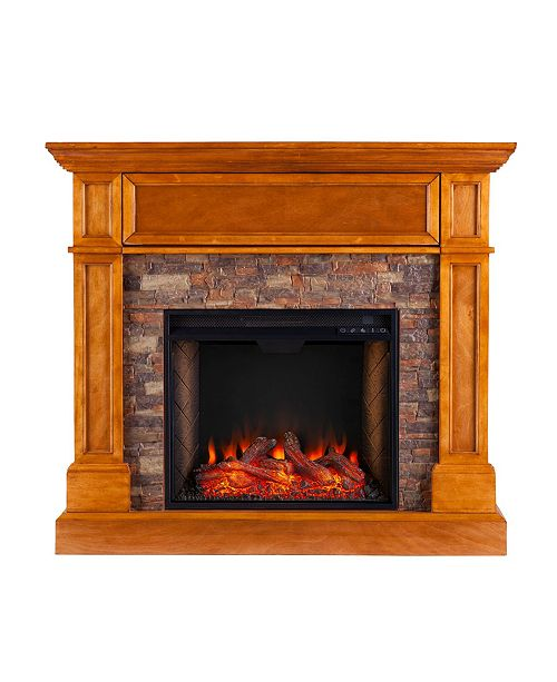 Southern Enterprises Warrington Convertible Alexa-Enabled Fireplace with Polyresin
