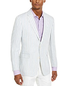 Men's Modern-Fit Blue/White Stripe Sport Coat