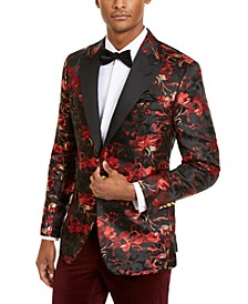 Orange Men's Slim-Fit Red/Black Floral Dinner Jacket